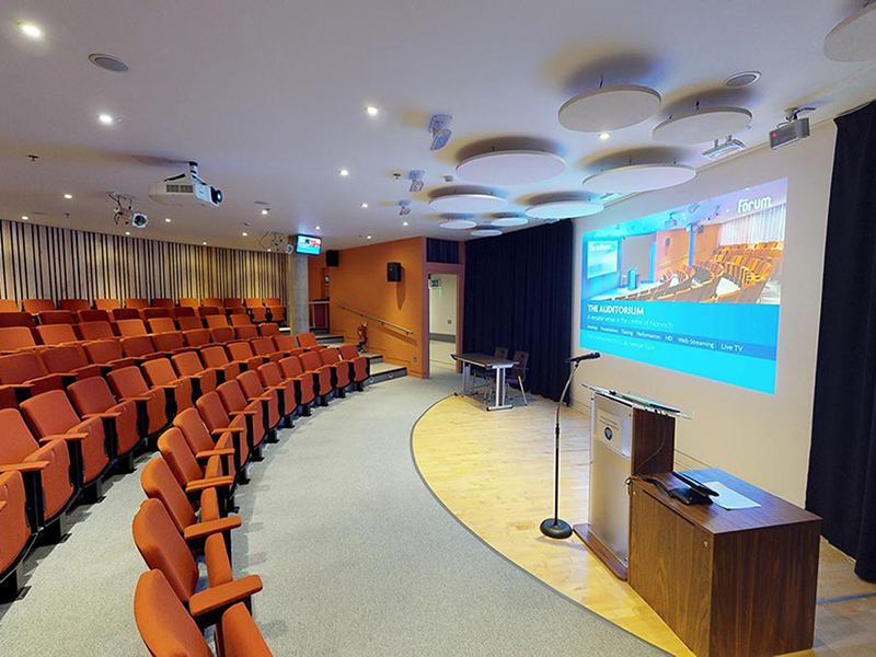 The auditorium at The Forum Norwich by Vortex Visual