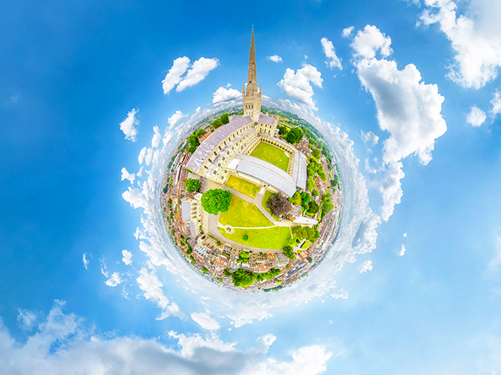 Little-Planet-aerial-360-view-of-Norwich-Cathedral-by-Vortex-Visual